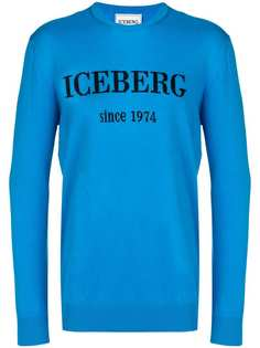Iceberg logo print slim fit jumper
