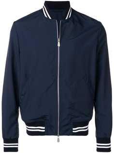 Eleventy куртка-бомбер с отделкой в рубчик