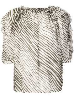 See By Chloé striped ruched neck blouse