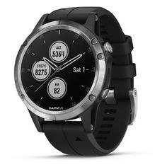 """Смарт-часы GARMIN Fenix 5 plus, 47мм, 1.2"""", серебристый / черный [010-01988-11]"""