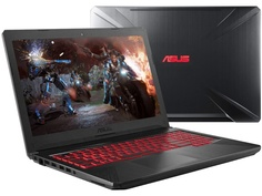 Ноутбук ASUS FX504GD-E4095 90NR00J3-M17790 (Intel Core i7-8750H 2.2 GHz/8192Mb/1000Gb+128Gb SSD/nVidia GeForce GTX 1050 4096Mb/Wi-Fi/Bluetooth/Cam/15.6/1920x1080/DOS)