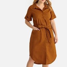 Платье-рубашка из льна и хлопка, длина 3/4 Castaluna