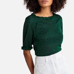 Пуловер с круглым вырезом из блестящего трикотажа Suncoo