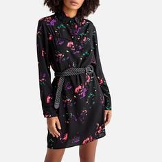 Платье расклешенное с абстрактным рисунком и длинными рукавами Suncoo