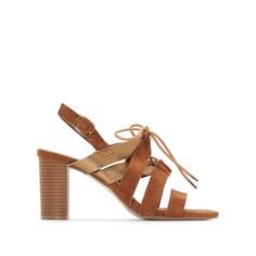 Босоножки кожаные двухцветные на высоком каблуке Anne Weyburn
