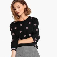 Пуловер с круглым вырезом и цветочной вышивкой PEPPINO Suncoo