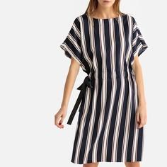 Платье-футляр прямое в полоску с короткими рукавами LA Redoute Collections