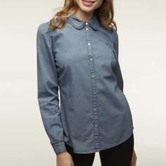 Блузка из джинсовой ткани с закругленным отложным воротником и оригинальными манжетами Naf Naf