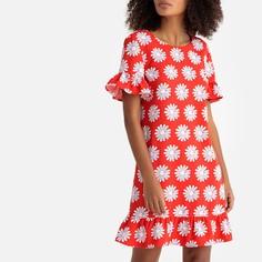Платье-миди расклешенное с баской, цветочным принтом LA Redoute Collections