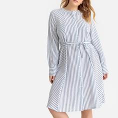 Платье в полоску средней длины с круглым вырезом и длинными рукавами Castaluna