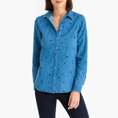 Блузка с рисунком и длинными рукавами из джинсовой ткани Maison Scotch