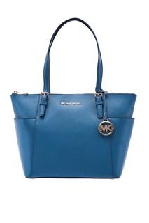 Синяя кожаная сумка Jet Set Item Michael Kors