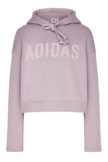Сиреневое кроп-худи с логотипом Adidas