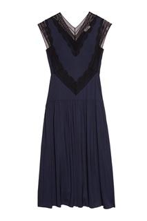 Синее платье с ажурной отделкой Sandro