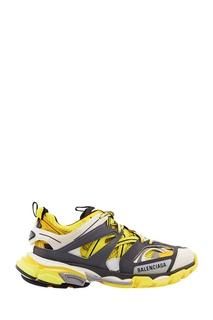 Серо-бело-желтые кроссовки Track Balenciaga