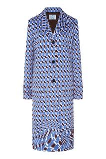 Голубое пальто с рисунком Prada
