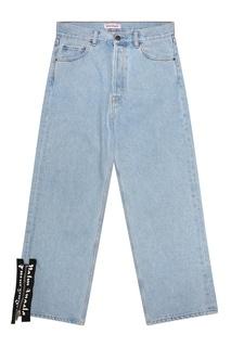 Голубые джинсы с декором Palm Angels
