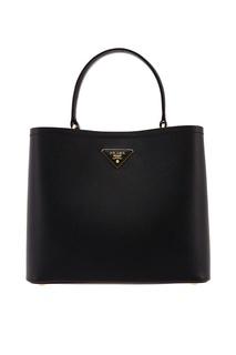 Черная кожаная сумка-тоут Panier Prada