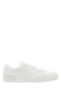 Белые кожаные кроссовки со стеганым узором Prada