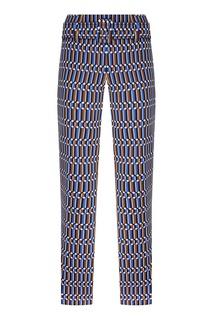 Синие брюки с геометрическим принтом Prada