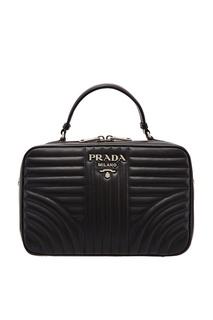 Черная кожаная сумка с фактурной отделкой Diagramme Prada