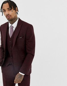 Бордовый облегающий пиджак из донегаля Harry Brown - Красный