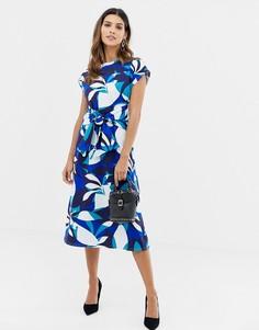 Трикотажное платье с принтом и завязкой Closet - Мульти