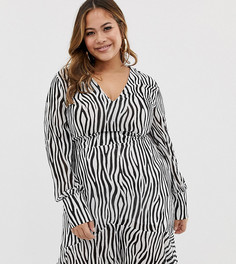 Платье миди с принтом зебра Missguided Plus - Черный
