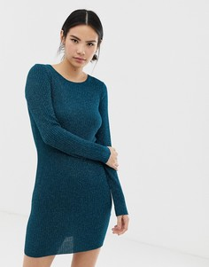 Сине-зеленое платье-джемпер с крупной вязкой косами Brave Soul - Зеленый