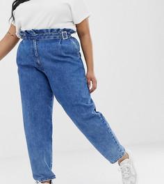 Синие винтажные джинсы бойфренда с высокой присборенной талией и поясом с пряжкой ASOS DESIGN Curve - Синий