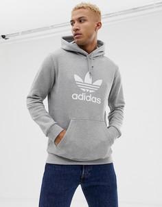 Худи серого цвета с логотипом-трилистником adidas Originals DT7963 - Серый