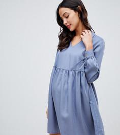 Свободное платье мини с воротником ASOS DESIGN Maternity - Серый