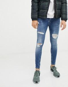 Синие облегающие джинсы с потертостями Gym King - Синий