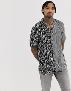 Рубашка с отложным воротником, короткими рукавами и принтом Another Influence - Черный
