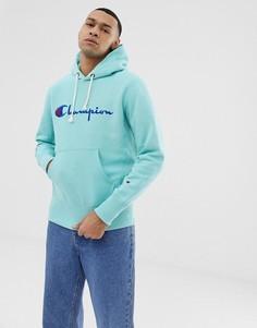 Голубой худи с большим логотипом Champion - Синий