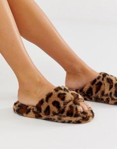 Слиперы с леопардовым принтом и перекрестными ремешками ASOS DESIGN - Мульти