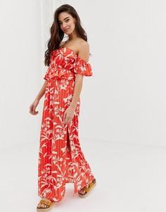 Пляжное платье макси с широким вырезом, оборками и принтом ASOS DESIGN - Мульти