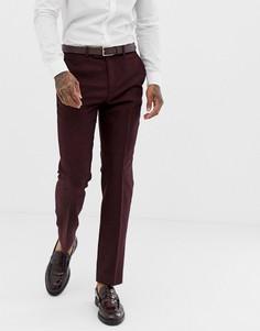 Бордовые брюки узкого кроя из донегаля Harry Brown - Красный