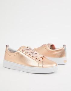 Кожаные кроссовки на шнуровке Ted Baker - Золотой