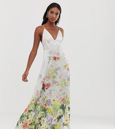 Атласное трапециевидное платье макси на бретельках с цветочным принтом ASOS DESIGN Tall - Мульти