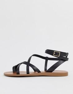 Черные кожаные сандалии с ремешками ALDO Gludda - Черный