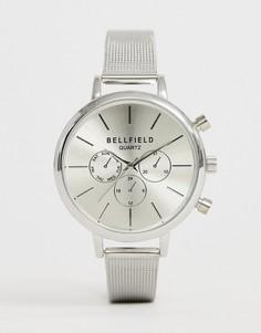 Часы с хронографом и серым сетчатым ремешком Bellfield - Серый