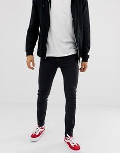 Выбеленные черные джинсы скинни Levis Line 8 - Черный