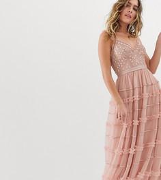 Розовое платье макси на бретельках с вышивкой Needle & Thread - Розовый