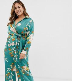 Зеленый комбинезон с широкими штанинами и цветочным принтом Missguided Plus - Мульти