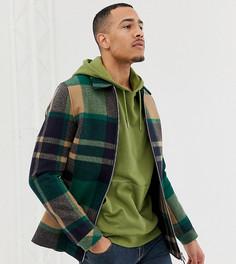 Зеленая куртка на молнии в клетку ASOS DESIGN Tall - Зеленый