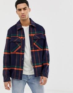 Темно-синяя клетчатая куртка на пуговицах с добавлением шерсти ASOS DESIGN - Темно-синий