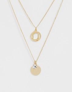 Золотистое многорядное ожерелье-цепочка с логотипом Lipsy - Золотой