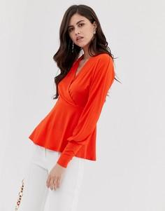 Топ с V-образным вырезом и запахом Y.A.S - Оранжевый