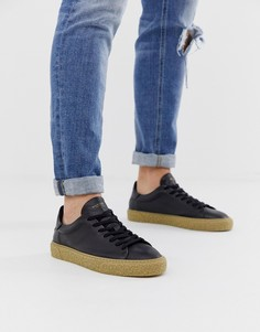 Черные кожаные кроссовки на толстой фактурной подошве Selected Homme - Черный